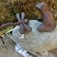 Garten Tiere Gusseisen Stein Unikat Gartendeko Dekoartikel Frosch Libelle TT169