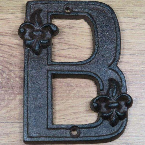 "Hausnummer Buchstabe Buchstaben A B C  ""B""  Landhaus Gusseisen Lilie DB62-B"