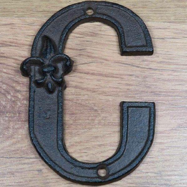 """Hausnummer Buchstabe Buchstaben A B C  """"C""""  Landhaus Gusseisen Lilie DB62-C"""