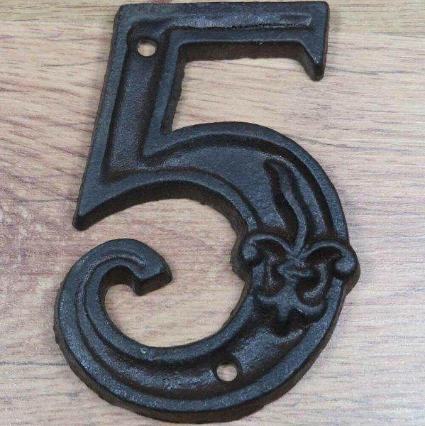 Hausnummer Nummer Nummern Ziffern Ziffer Zahl Zahlen Gusseisen Lilie DB62-5