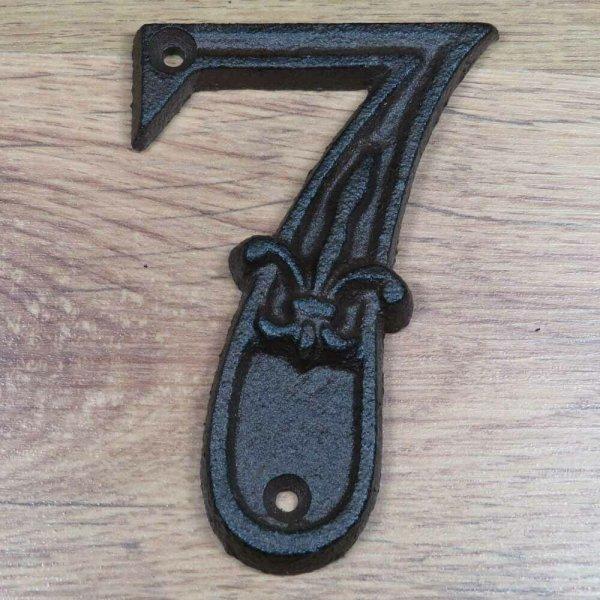 Hausnummer Nummer Nummern Ziffern Ziffer Zahl Zahlen Gusseisen Lilie DB62-7