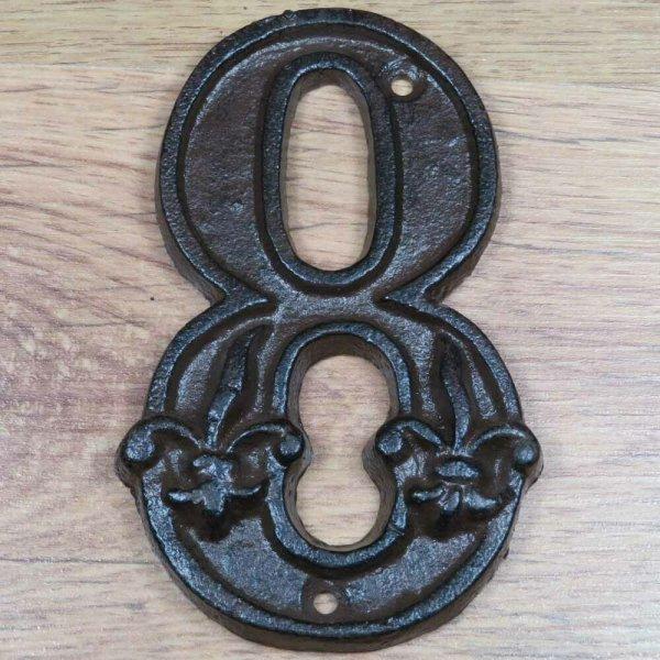 Hausnummer Nummer Nummern Ziffern Ziffer Zahl Zahlen Gusseisen Lilie DB62-8