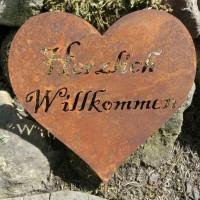 Herz Herzlich Willkommen Edelrost Rost Gartendeko Dekoration Deko Garten 160362