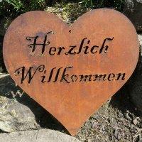 Herz Herzlich Willkommen Edelrost Rost Gartendeko...