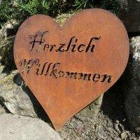 Herz Herzlich Willkommen Edelrost Rost Gartendeko Dekoration Deko Garten 160365