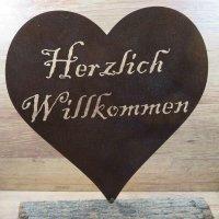 Herz Willkommen Edelrost Rost Gartendekoration Deko Garten Gartendeko 160363
