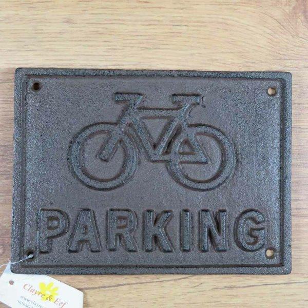 Schild Gusseisen Parkhinweis Hinweisschild Stellplatz Fahrrad Clayre&Eef 6Y3012