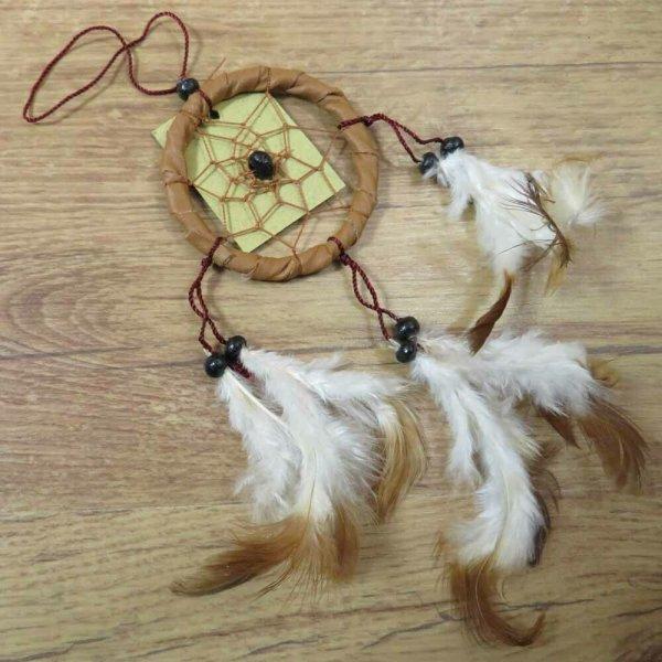 Traumfänger Dreamcatcher Traum Träume Federn Indianer Perlen braun 6 cm 8530043