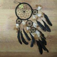 Traumfänger Dreamcatcher Traum Träume Federn Indianer Perlen schwarz 16 cm 85300