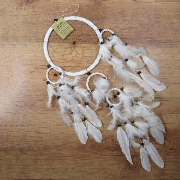 Traumfänger Dreamcatcher Traum Träume Federn Indianer Perlen weiß 16 cm 8530071