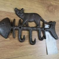 Garderobenhaken Garderobenleiste Hakenleiste Gusseisen Katze Fischgräte LH232